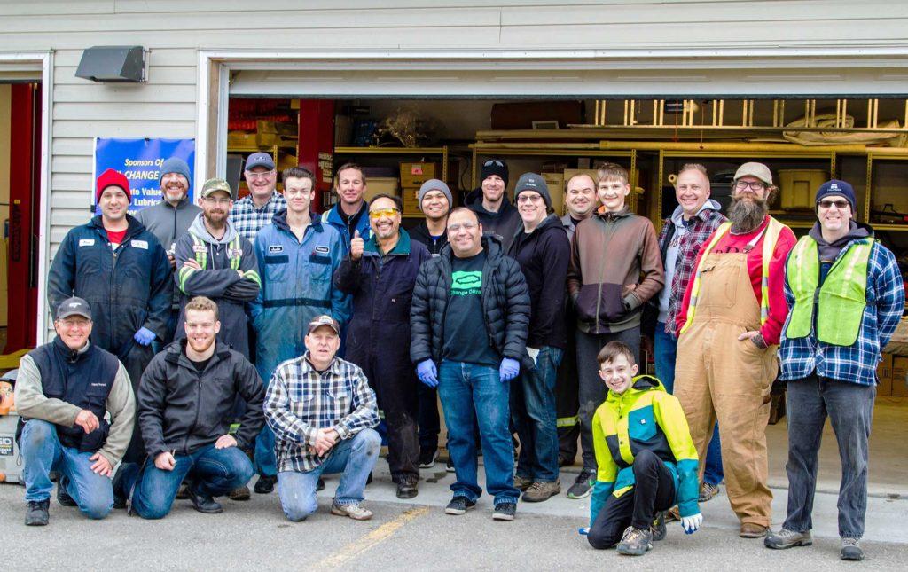 Oil Change Day volunteers (pre-COVID)