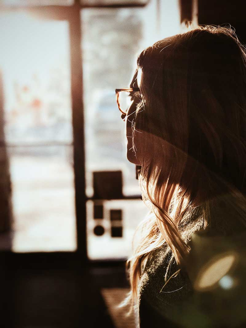 Reflective woman